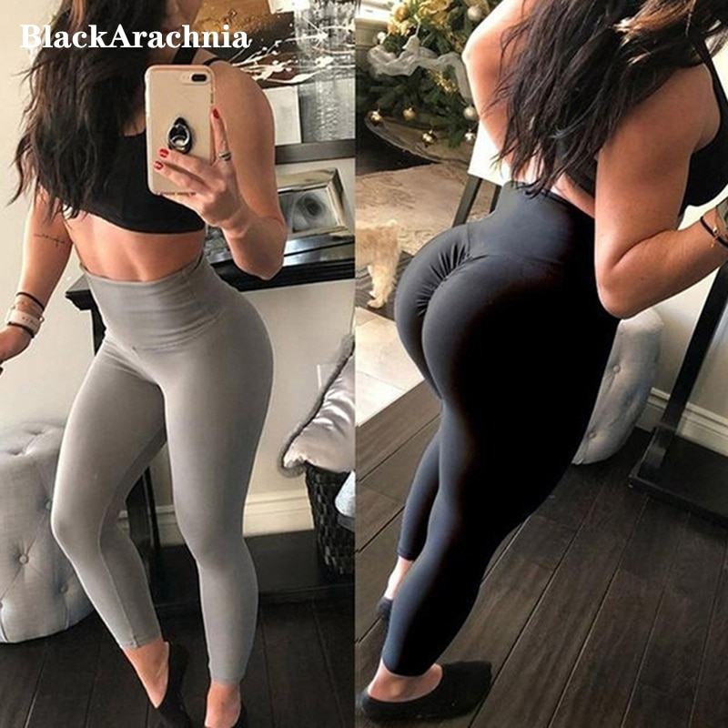 New High Waist Leggings Women Fitness Clothes Slim Ruched Bodybuilding Women's Pants Athleisure Fema