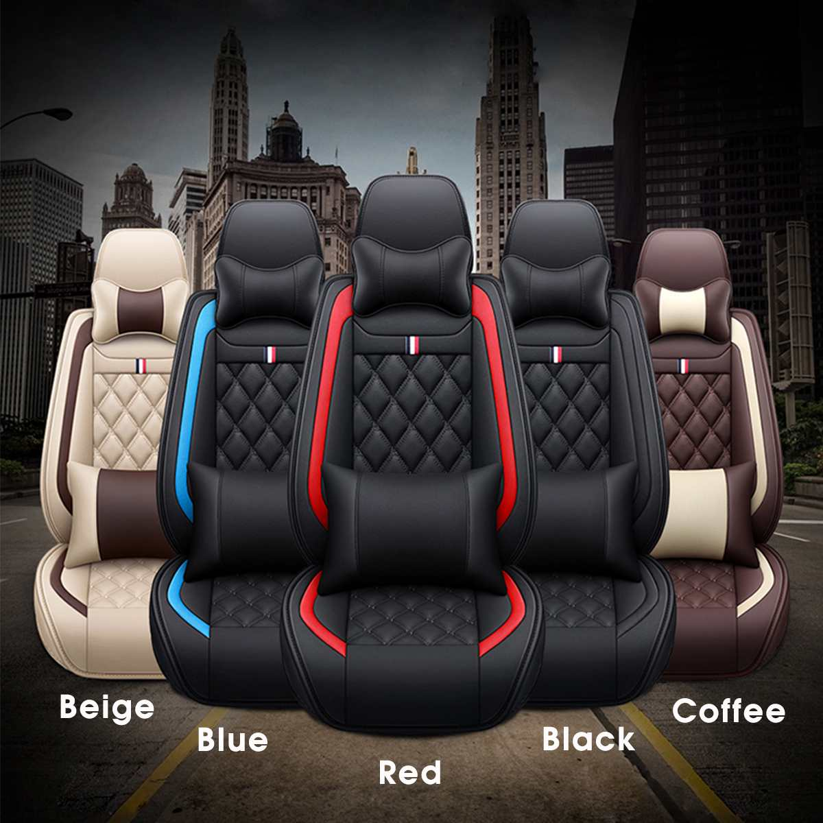 Luxus PU Leder Auto Sitz CoverUniversal Automobil Sitz Pad Mit 2 Kopfstützen Kissen