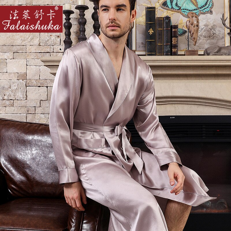 Pure Color Men% 27s Natural Silk Sleeping халаты с длинным рукавом High Quality Real Silk Sleepwear Male халаты S5625