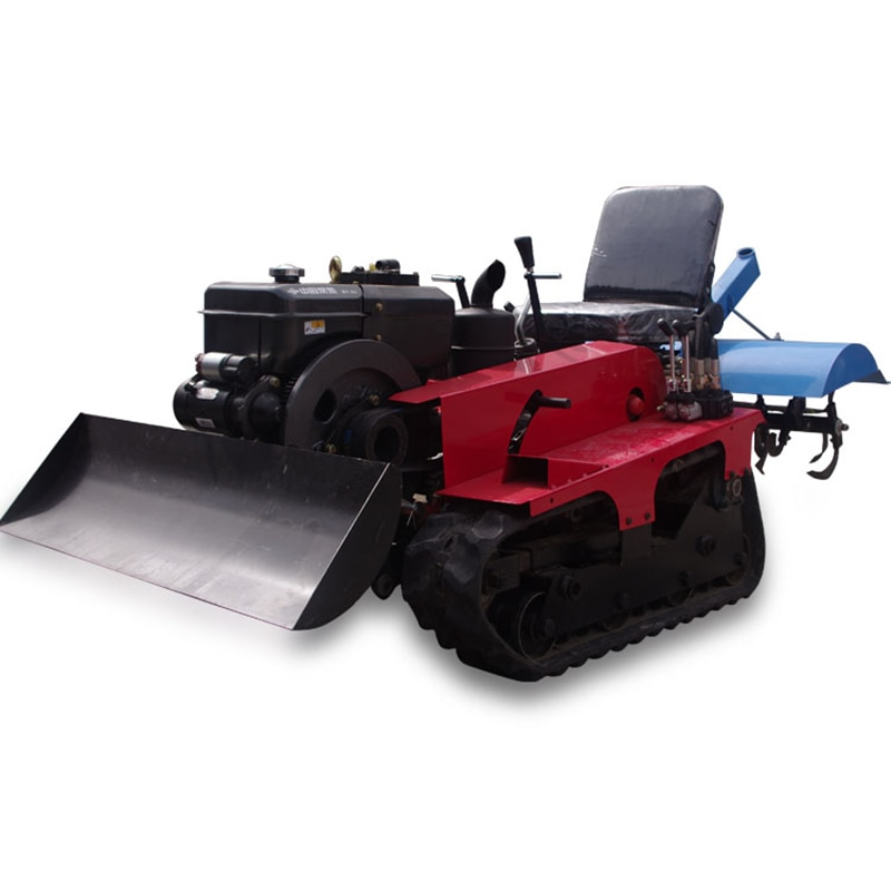 16 Horsepower Crawler Rotary Cultivator Micro Tillage Cultivator Tractor Small Household Diesel Loose Trench Weeder