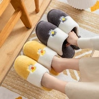 daisy baotou word cotton drag women and men shoes autumn winter hot sell couple casual indoor warm home zapato chaussure femme