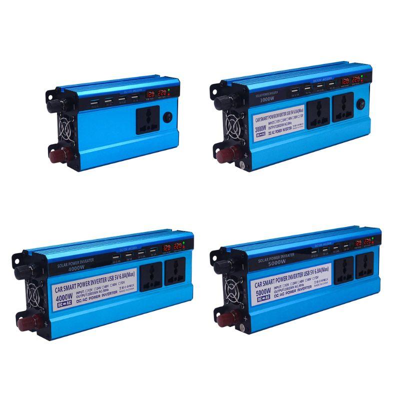 محول طاقة شمسية 12 فولت 24 فولت إلى تيار متردد ، 220 فولت ، 500 واط ، 3000 واط ، 4000 واط ، 5000 واط ، 4 منافذ USB ، 2/3 مقابس ، شاشة LED ، محول جهد