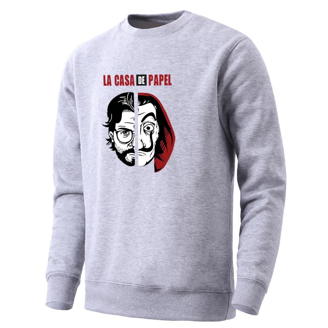 Mens La Casa De Papel Vintage Horror Printing Hoodie 2020 Leisure Round Neck Clothes Spring Hip Hop Male Long Sleeve Fall Homme