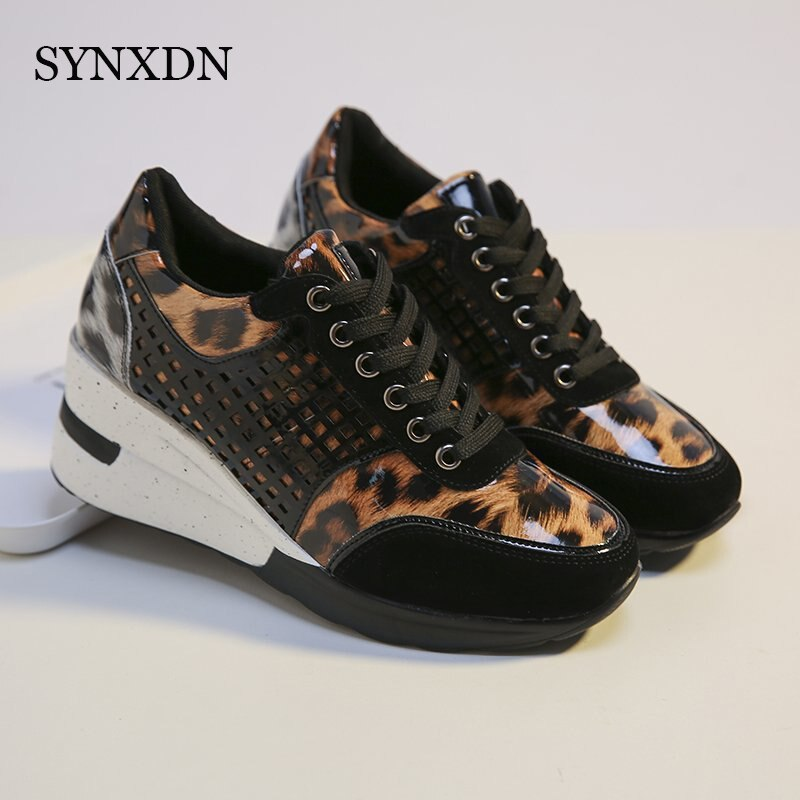 SYNXDN 2021 Fashion New Winter Women Vulcanized Shoes Women Sneakers Outdoor Cozy Casual Leopard Wed