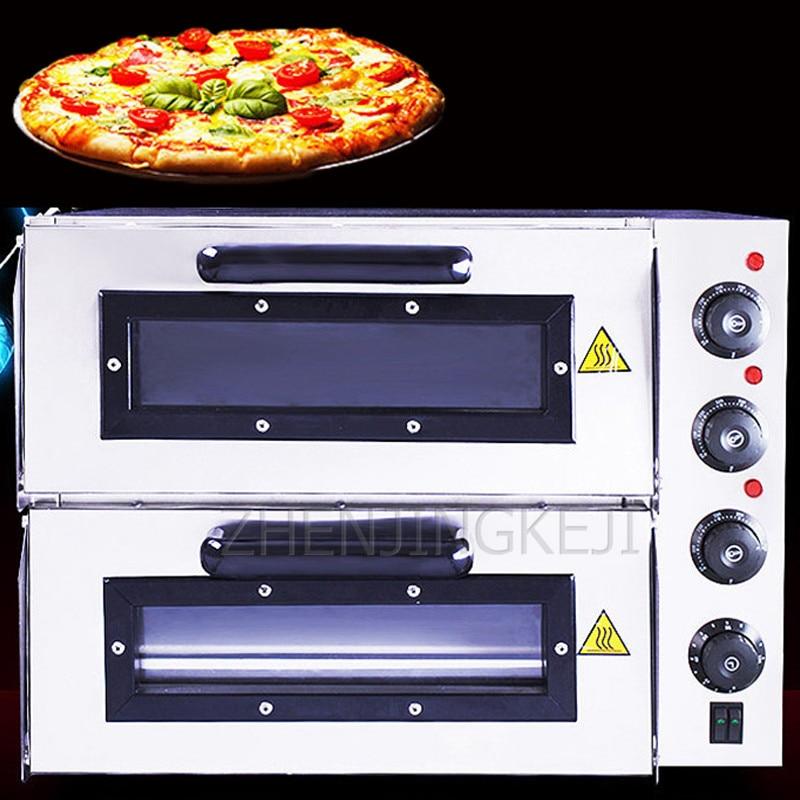 فرن تجاري فرن كهربائي طبقة مزدوجة كعكة الخبز أدوات فرن كبير فرن كهربائي فرن البيتزا التجارية عالية الطاقة 3000 واط
