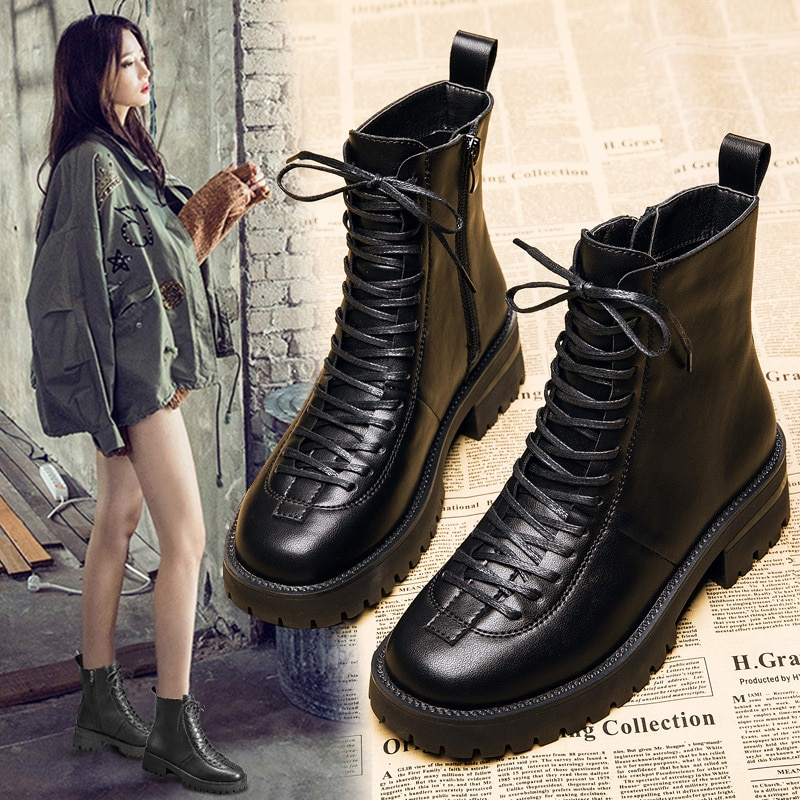 comemore Genuine Leather Dr Martin Boots Women's British Style 2021 Spring Autumn Mid-heel Thick-soled Heighten Shoes Short Boot