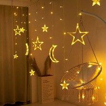 Lune étoile rideaux lumineux LED 220V EU Plug fée guirlandes de noël décoration extérieure Festival de vacances LED scintillant guirlandes lumineuses