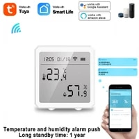 tuya wifi temperature and humidity sensor indoor hygrometer thermometer with lcd display compatible with alexa google assistant