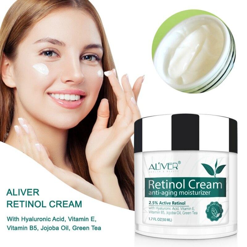 Retinol, ácido hialurónico, vitamina A, crema hidratante antiarrugas, loción reafirmante y nutritiva