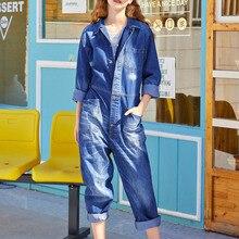 Women Autumn Winter Cargo Denim Jumpsuits Multi-pocket Long Sleeve Loose Fashion Jeans Romper Overalls