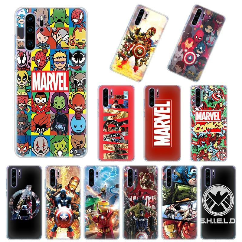 Silicone Case Coque for Huawei P30 P40 Pro+ P20 P30 Lite P40 P10 Lite P Smart Plus Soft Cover Marvel Superheroes The Avengers
