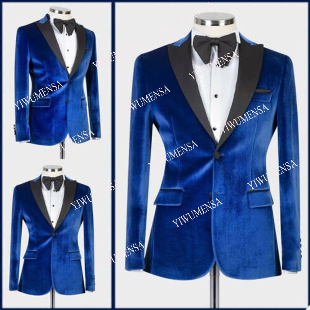 YIWUMENSA الأزرق المخملية الرجال البدلة سترة منتظم صالح السترة العريس بذلة سوداء ذروتها التلبيب معطف العريس الزفاف الرسمي مصممة