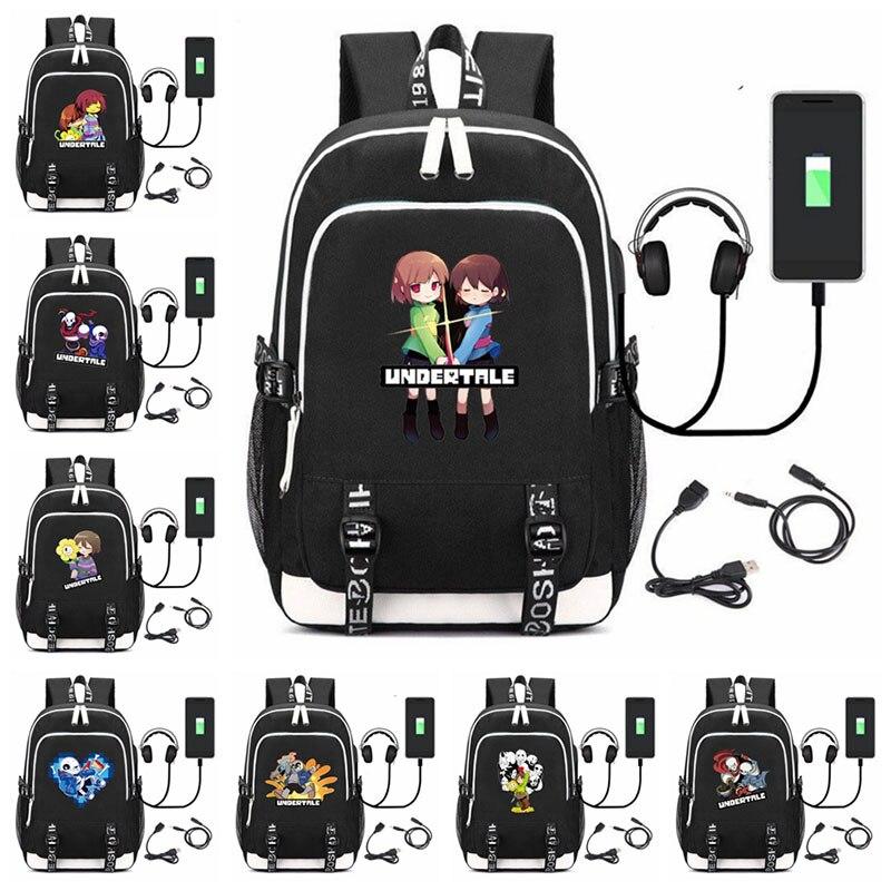 Bolsas de Escola Jogo Sans Papiro Mochila Firsk Usb Carga Multifuncional Mochilas Adolescentes Portátil Homem Viagem Bagpack Cosplay
