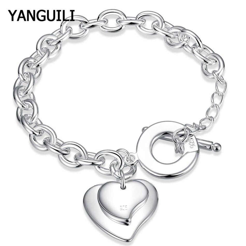 Trendy Schmuck 925 Silber Armband Mode Charme Doppel Herz Kette Armband OT Schnalle Kostenloser Versand