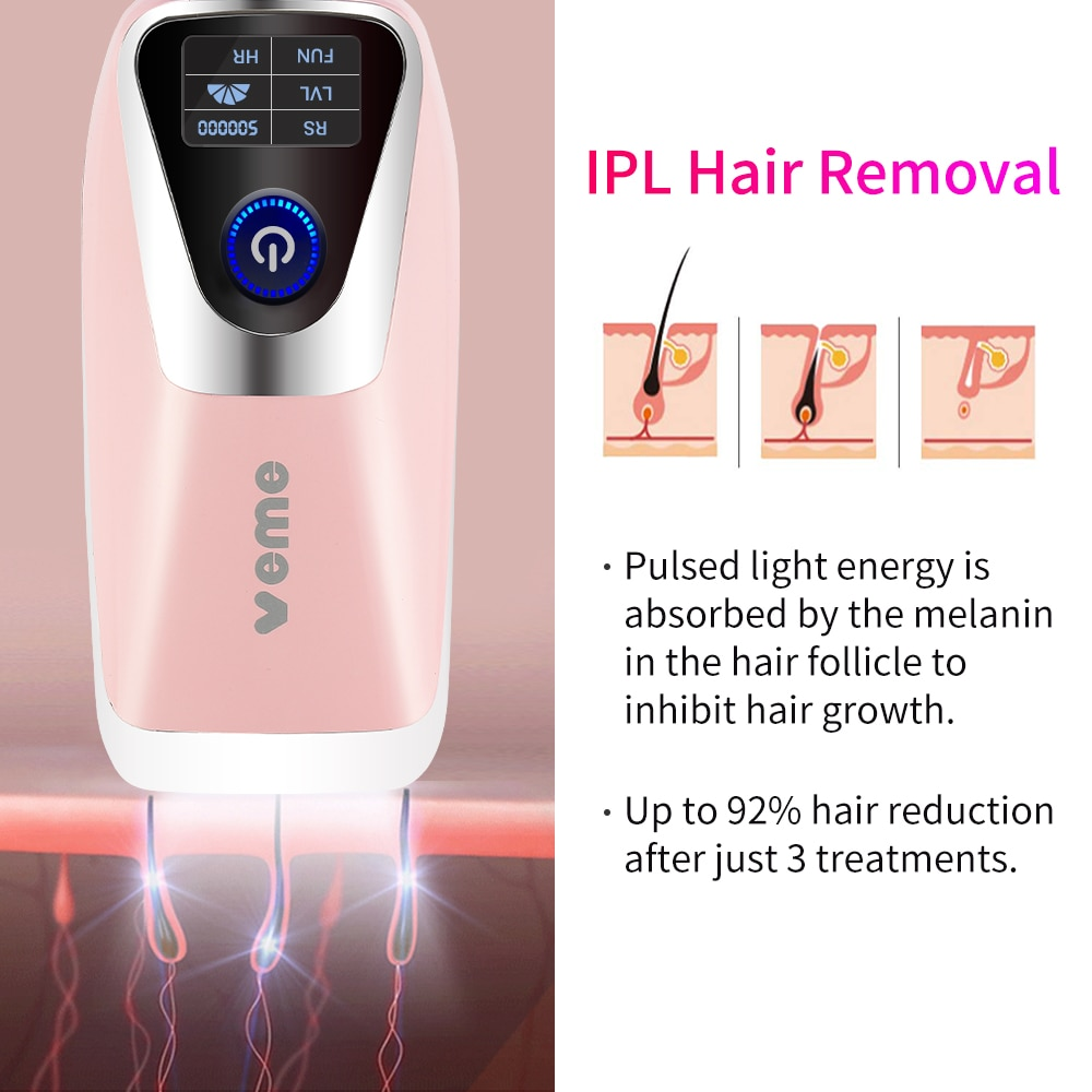 Qmele IPL Laser Epilator Laser Hair Removal device With 500000 Flashes Permanent Bikini Whole Body Electric Trimmer Hair Removal enlarge