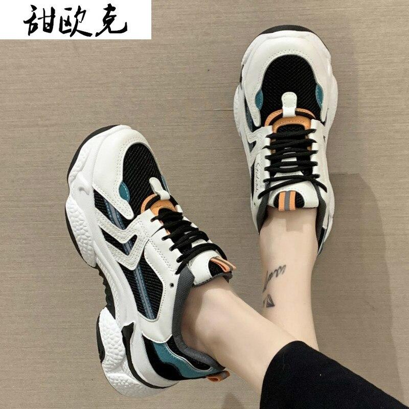 Dedo do pé Sapatos de Caminhada Nova Moda Malha Respirável Feminino Sapatos Casuais Confortáveis 2021 Primavera Mulher Tênis Plataforma Redondo