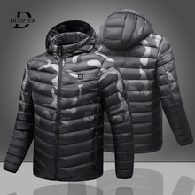 Mens Hooded Heating Parkas Jackets USB Safe Smart Heated Constant Temperature Parka Coat Male High Q