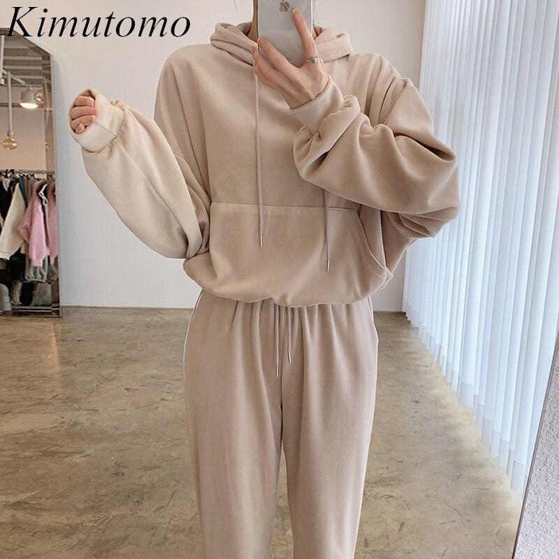 Kimutomo مجموعات النساء 2021 الكورية الخريف بسيطة السيدات عادية كبيرة جيب فضفاض مقنعين البلوز عالية الخصر بنطلون قطعتين