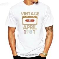 funny vintage tape april 1981 shirt retro distressed 1981 design t shirt 38th birthday gift for men women