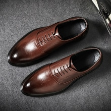 Mens Formal Shoes Genuine Leather Oxford Shoes For Men Italian 2020 Dress Shoes Wedding Shoes Laces