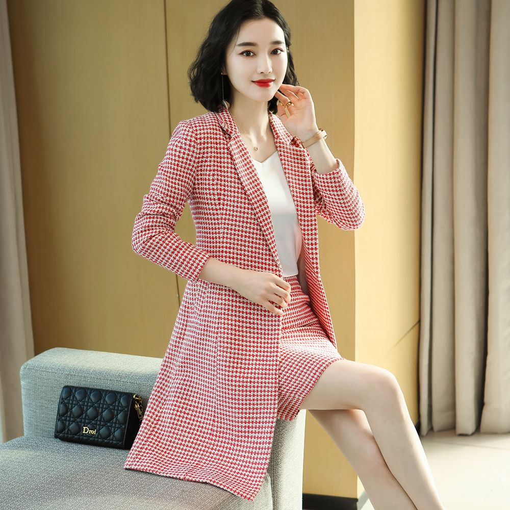 Women Tweed Suits Winter Korean-Style 5XL Long Length Slim Jacket Mini Skirt Business Suit High-end Overalls  Suit For Work