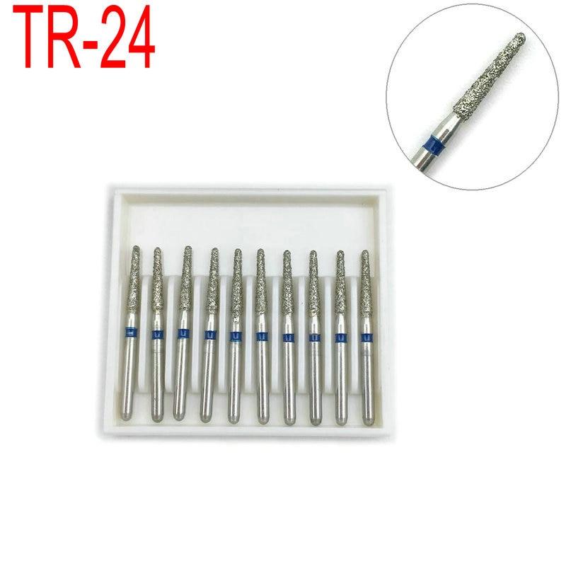 1 caixa de diamante dental bur broca para os dentes branqueamento médio polimento ferramenta de alisamento odontologia materiais TR-24