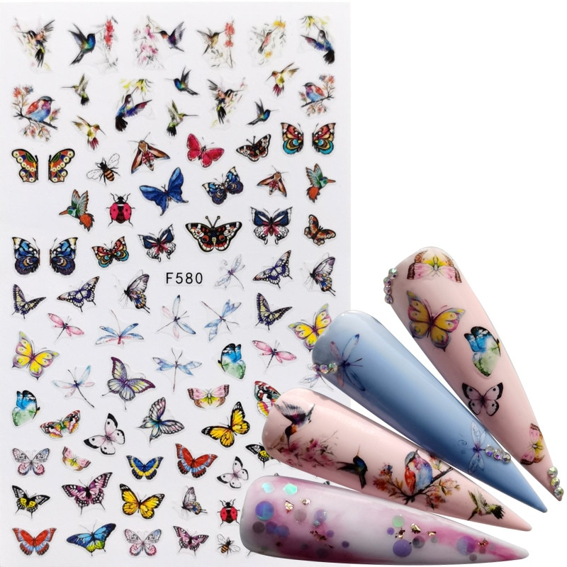 1 PC Mix Butterfly 3D Nail Sticker Adhesive Sliders Wraps Tips Charm Art Manicure Decorations 1box gold silver mix metal butterfly 3d nail art decorations nail rivets shiny charm strass manicure accessories