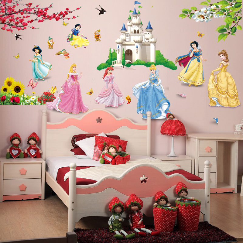 Cartoon Snow White Princess Castle Wall Stickers Girls Kids Bedroom Home Decor Wall Decals Vinyl Art Mural Paper Poster Sticker