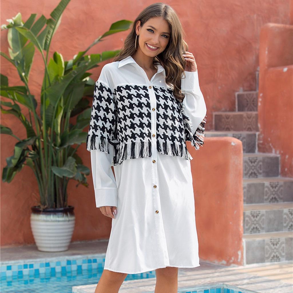 Blusa de manga larga con cuello de retales para mujer, hasta la rodilla, tallas grandes, camisas informales con botones de primavera G3
