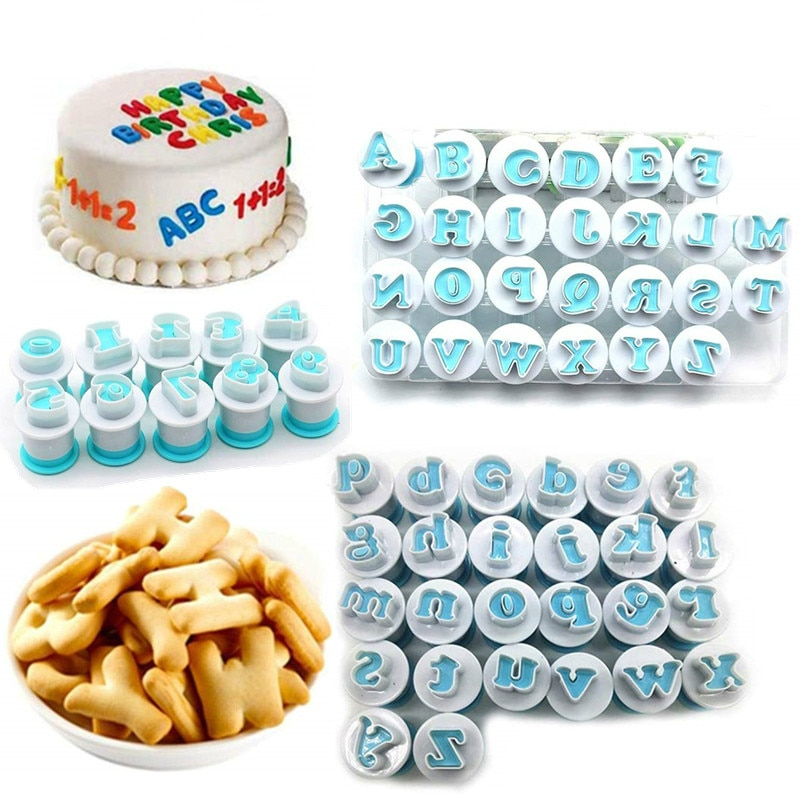 Alphabet Number Biscuit Cutter Lowercase Uppercase Letter Cake Decorating Cookie Tools Stamp Mold Dessert Baking Accessories