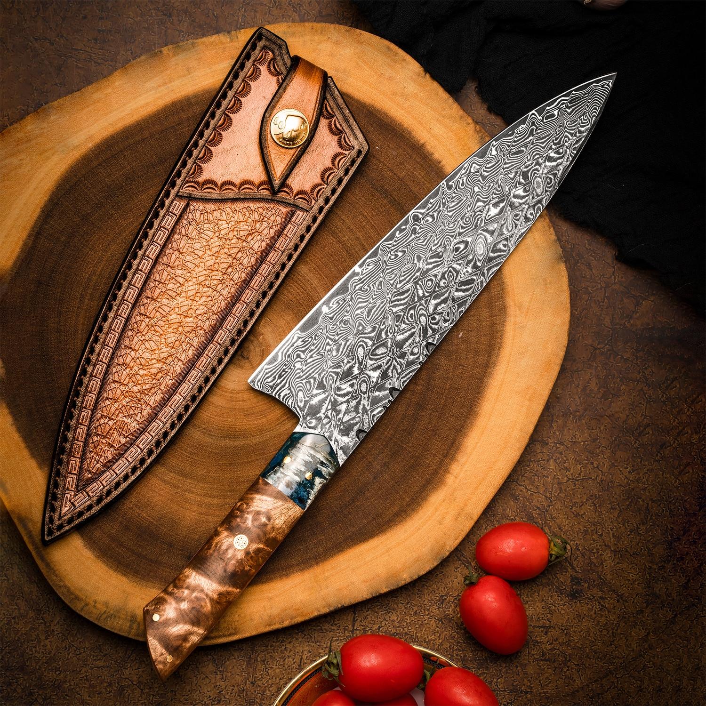 FZIZUO-سكين الشيف ، تانغ دمشق الصلب ، مقبض خشبي ، 8.3 بوصة ، سكاكين مطبخ احترافية مع غمد