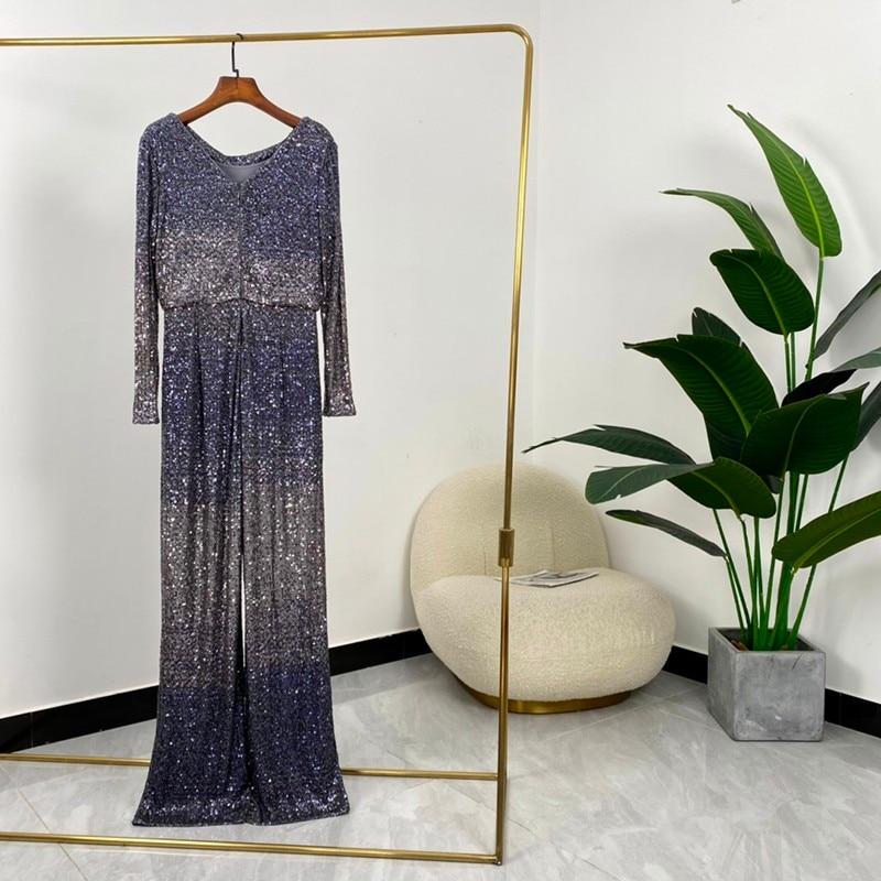 High Quality Summer Women Fashion Dark Blue O-neck Long Sleeve High Waist Playsuit Jumpsuit