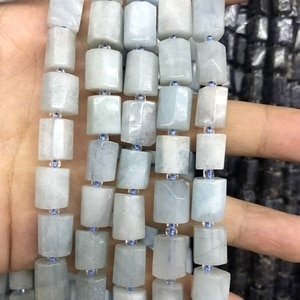 """Wholesale 2strings Natural Aqua marine Gem beads,Faceted Stone Tube beads for jewelry 15.5""""/string"""