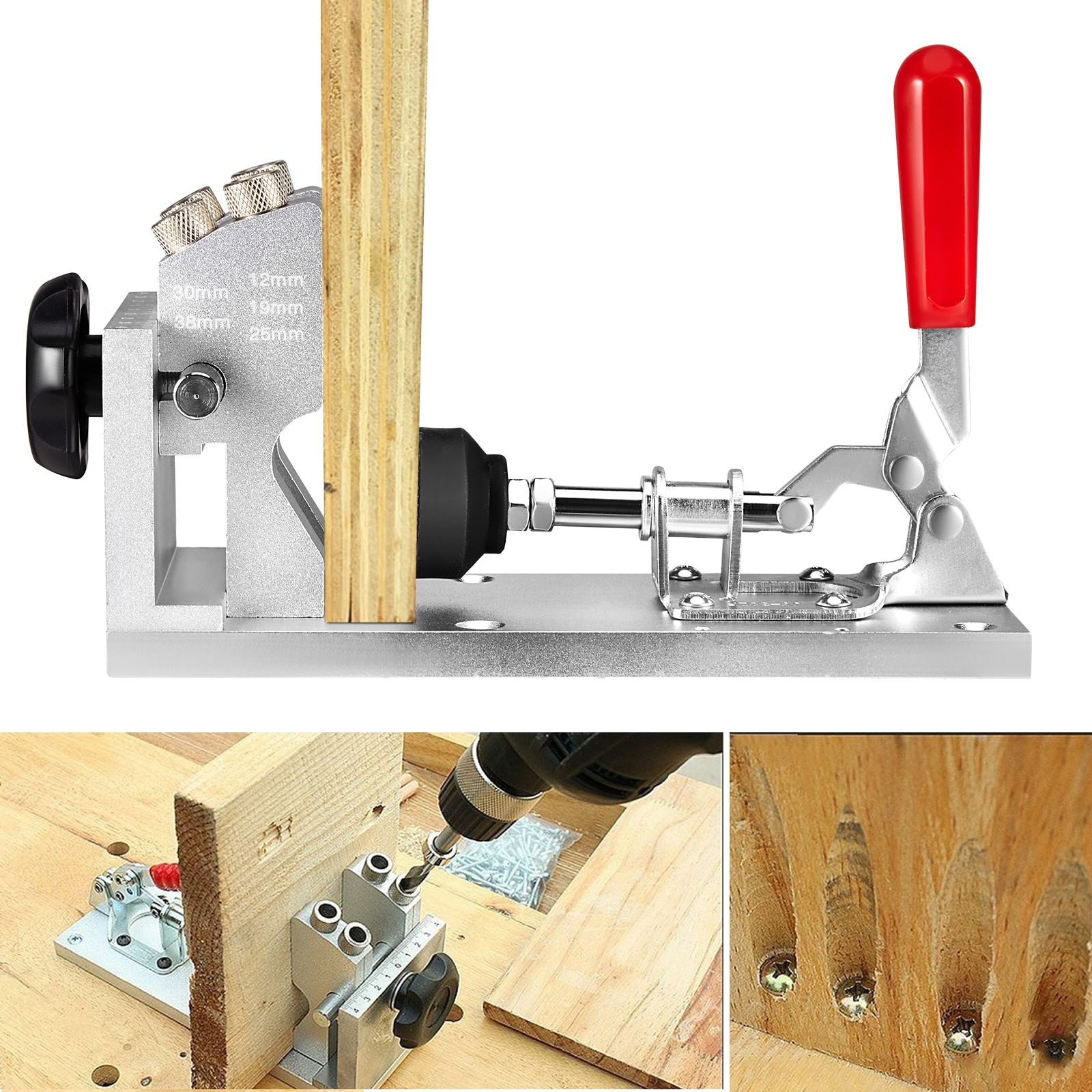 Pocket Hole Jig Kit Woodworking Fixture System Adjustable And Easy-to-use Woodworking Tools Punch Locator Drill Locator