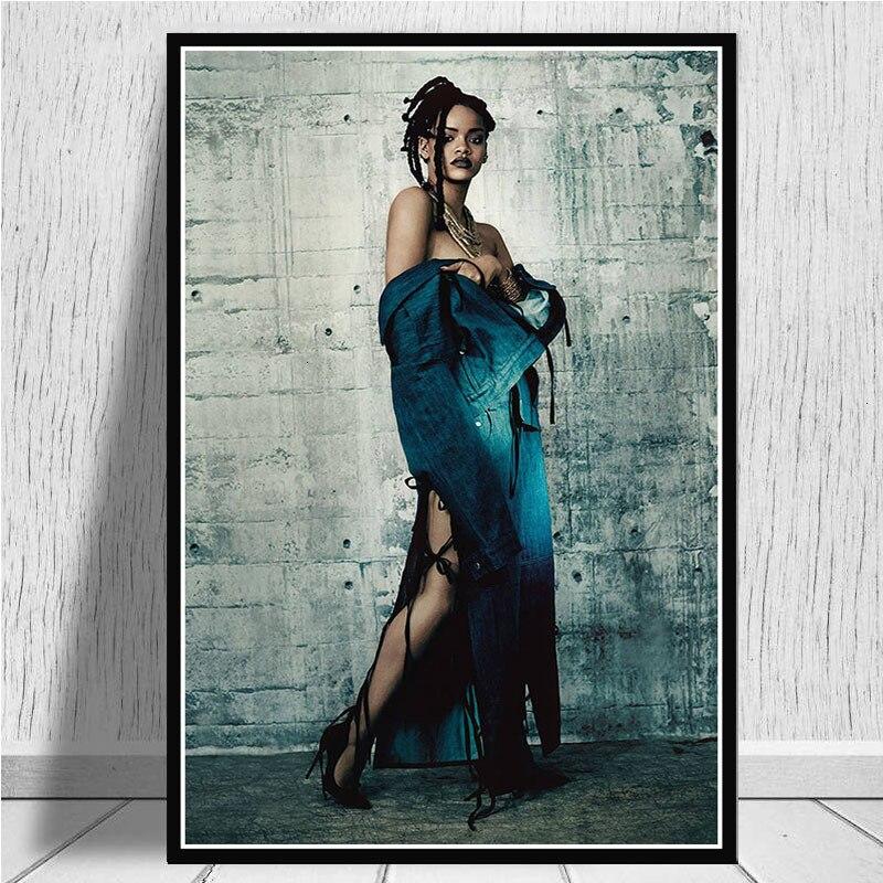 Superestrella cantante de música Pop Rihanna, superestrella de Hip Hop USA, póster de pintura artística e impresiones de cuadros de pared para la decoración del hogar de la sala de estar