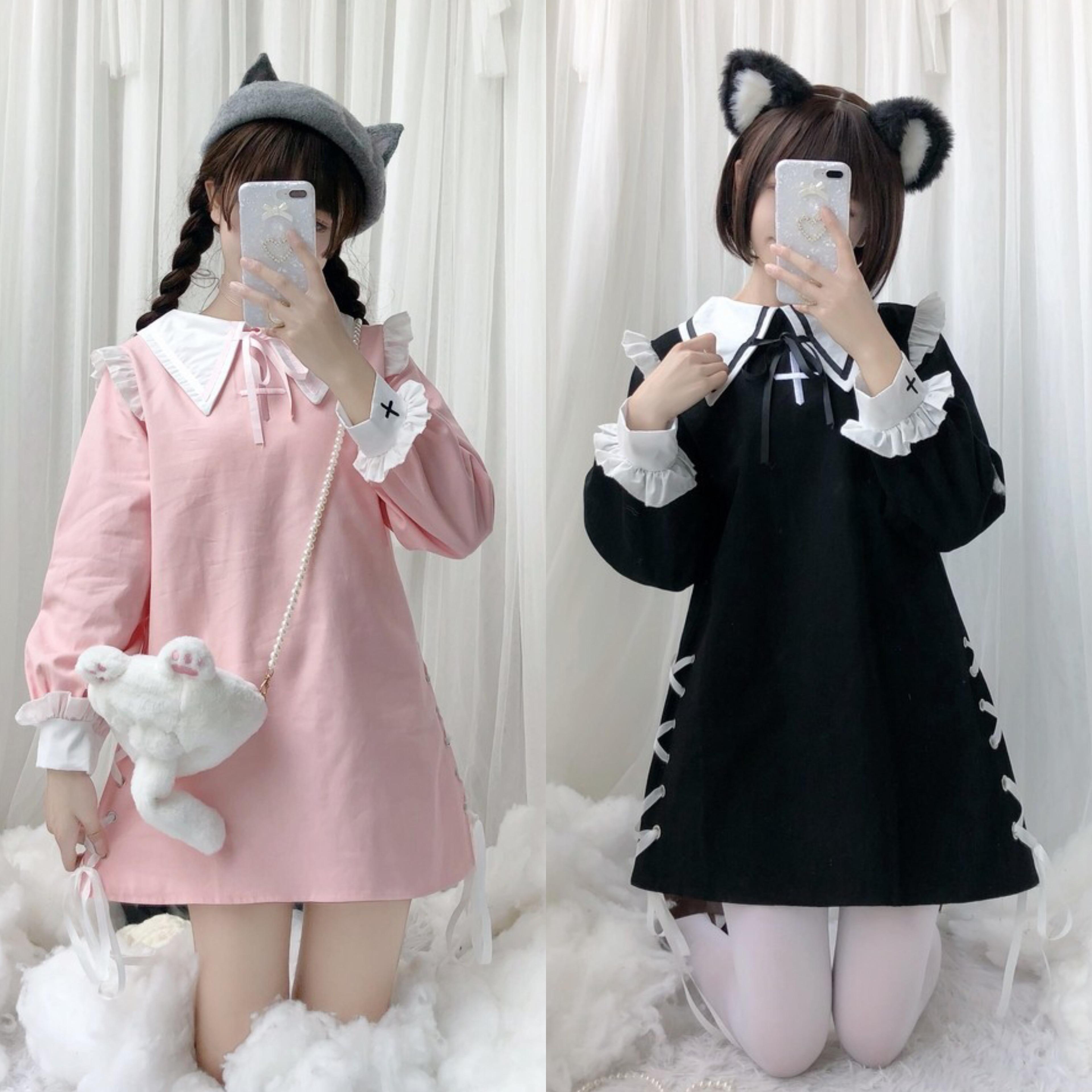 Japonês doce lolita vestido bordado falbala cruz cinta bowknot vitoriano vestido kawaii menina gothic lolita op loli cosplay
