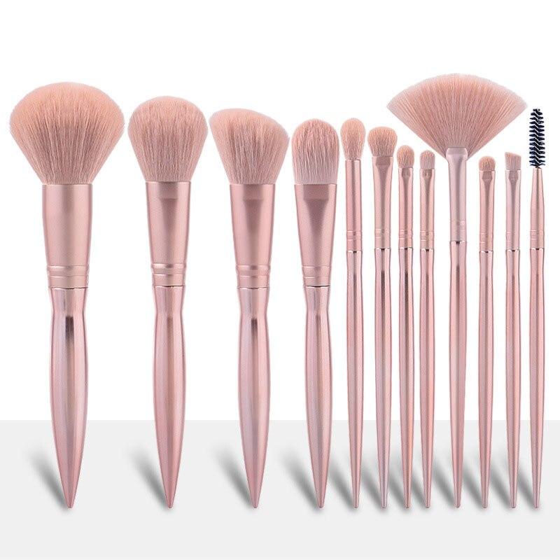 12Pcs Matte Rose Gold Makeup brushes set Professional Natural hair brushes Foundation Powder Contour Eyeshadow make up brushes недорого