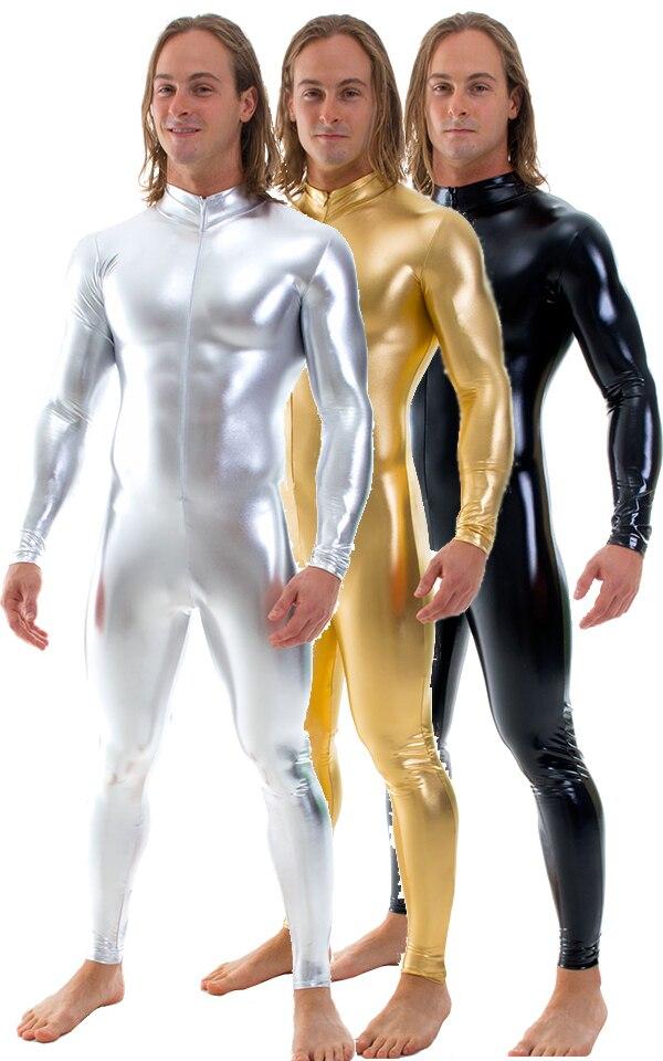 Hombre Unitard de cuerpo completo Zentai brillante Spandex metálico patas ajustados apretados trajes Cosplay disfraces con cremallera frontal
