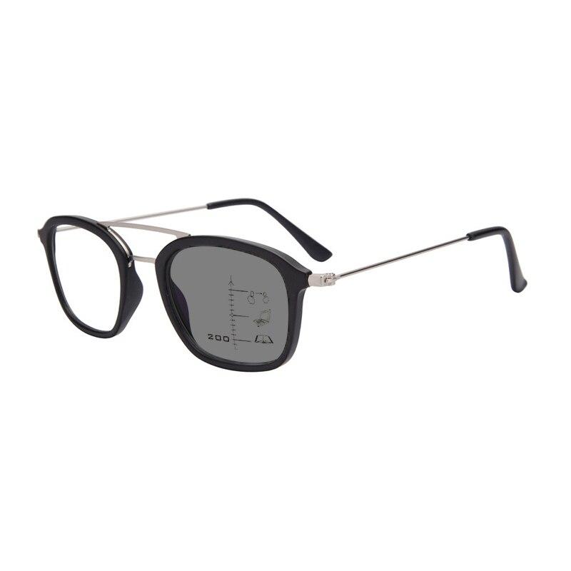 New Men Double Beam Square Photochromic Progressive Reading Glasses Magnifier Women Driving Look Nea