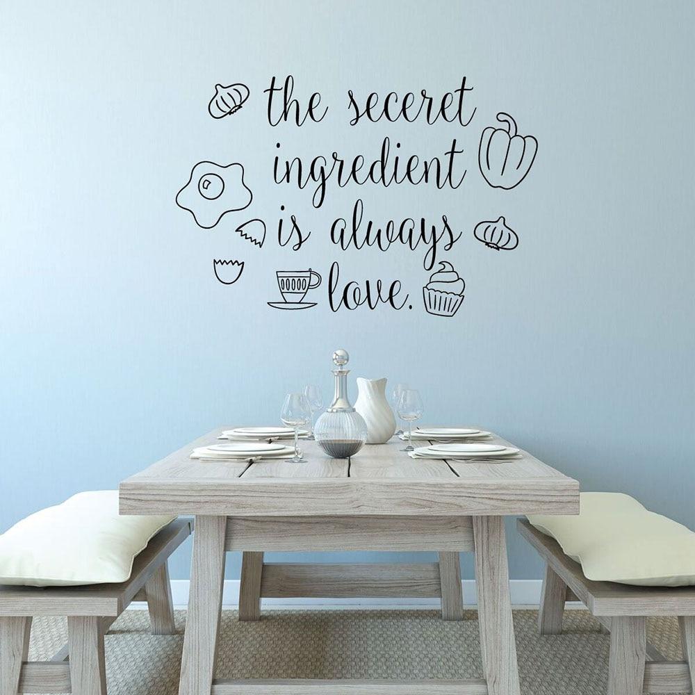 Наклейка для кухонной стены Цитата секретный ингредиент всегда любовь виниловая наклейка на холодильник фермерский дом Ресторан Декор инт...