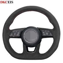 Housse de volant de voiture en daim souple noir   Bricolage, pour Audi A4 (B9) A3 (8V) Avant A1 (8X) A5 (F5), Sportback Q2 2016-2019