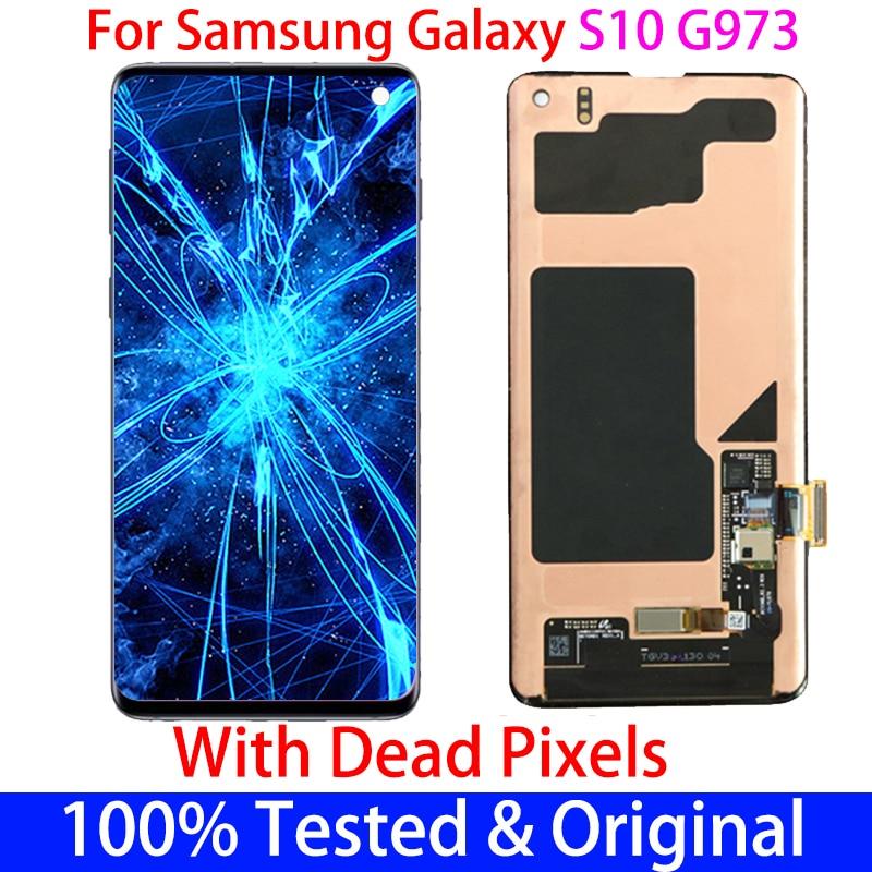 الأصلي مع إطار بقعة LCD لسامسونج غالاكسي S10 G973F G973U G9730 عرض شاشة تعمل باللمس محول الأرقام الجمعية استبدال