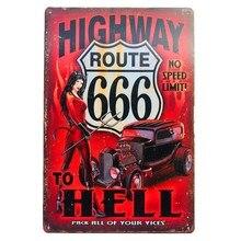 Shabby Chic Route 666 Highway to Hell Devil Pin up girl винтажный постер металлическая жестяная вывеска настенная пластина гаражная панель украшение для стен дома,...