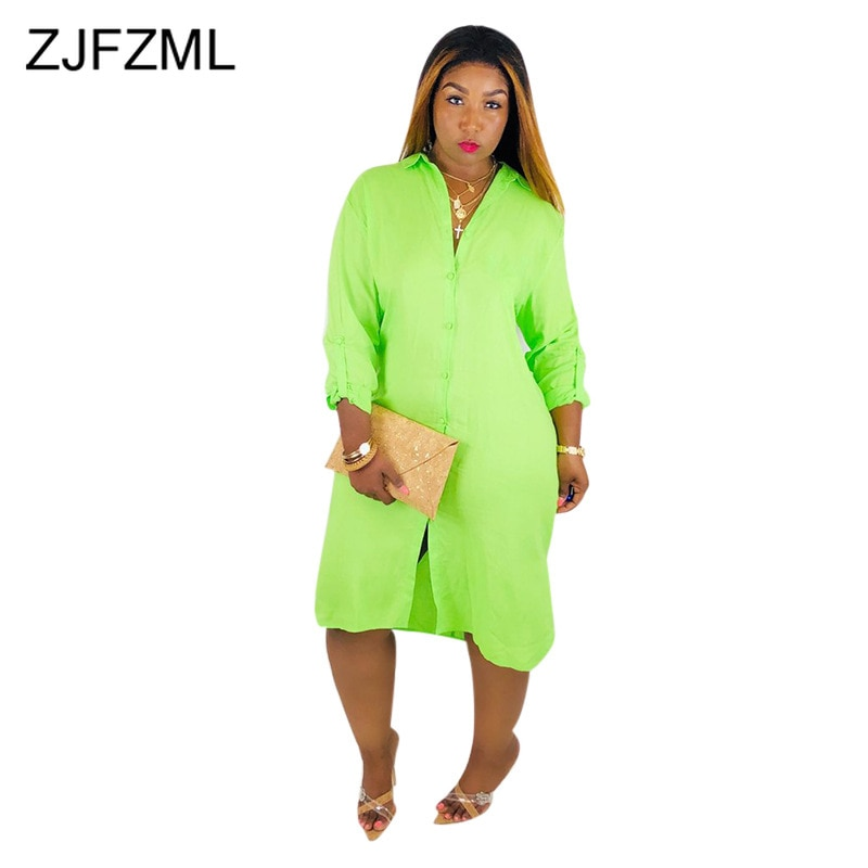 Neon Green Summer Loose T Shirt Dress Women Turn Down Collar Long Sleeve Midi Dress Casual Buttons Up Backless Side Split Dress