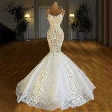 Lace Applique Mermaid Long Wedding Dresses Robe De Mariee Pearls Handmade African Bridal Gowns 2021 Vestidos De Noiva Customized