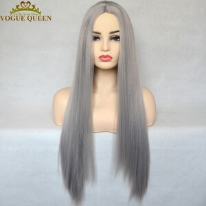 Vogue Queen Silver Grey Straight Synthetic Full Machine Made Wig Heat Resistant Fiber Daily Wear For Women