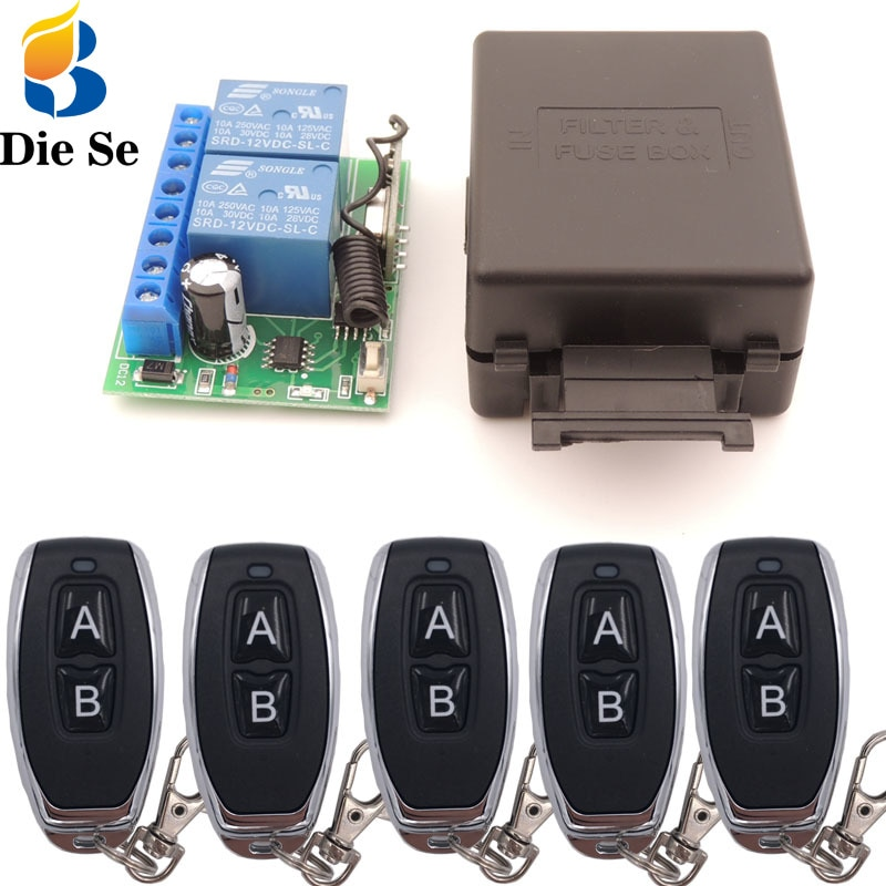 110v220v 12ch rf wireless remote control switch system 2 transmitters and 12 receiver for garage door rf 433mhz 315mhz sku 5451 433MHz Universal Wireless Remote Control DC 12V 2CH rf Relay Receiver and Transmitter for Universal Garage door and gate Control