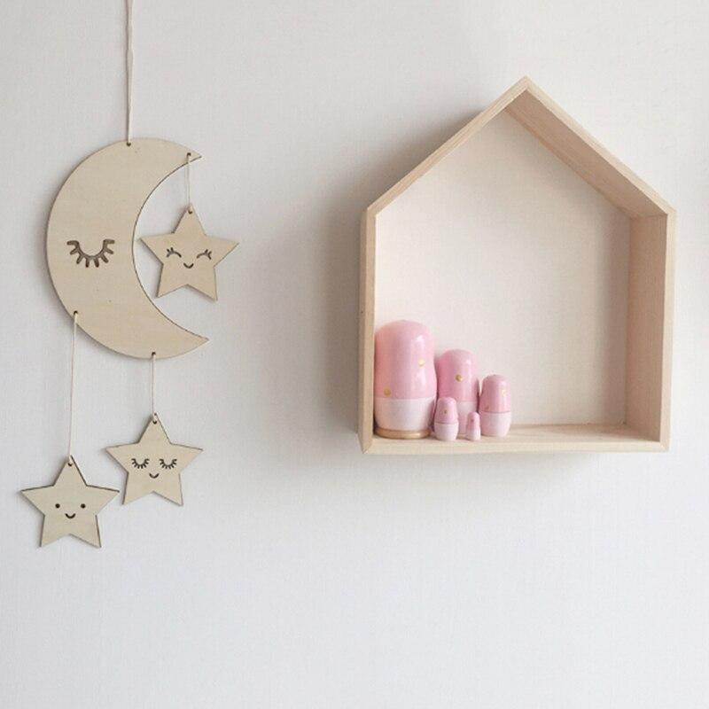 1 PCS Nordic Wooden Lash Moon Star Hanging Ornament Kids Baby Bedoom Kindergaden Store Decoration Party Photography Prop