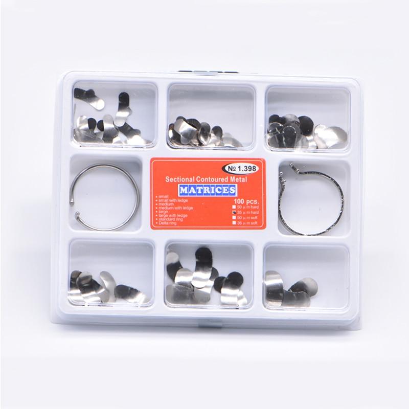 100Pcs/Set  Dental Matrix Sectional Contoured Metal Matrices No.1.398 lmws 2 Rings Dental Lab Equipment Teeth Replacement tools