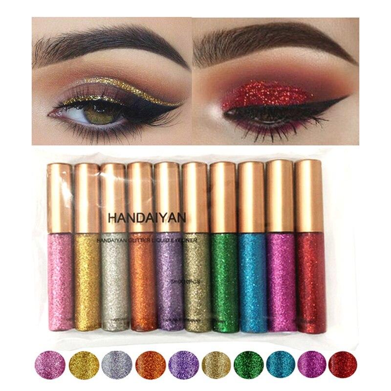 10 Colors/Set Glitter Shine Eyeliner Pen Makeup Color Eye Liner Pencil Liquid Diamond Sparkle Silvery Gold Eyeliner Glow Pen